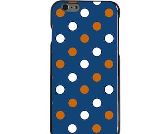 Hard Snap-On Case for Apple 5 5S SE 6 6S 7 Plus - CUSTOM Monogram - Any Colors - Virginia UVA Cavaliers Colors - Polka Dots Pattern