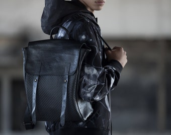 Barry Bag| Black Backpack| Barry Backpack| Laptop Bag | School Bag| Black Leather Bag| Gift for her