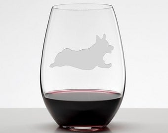 Running Corgi, Welsh Corgi Wine Glass, Etched Stemless Wineglass