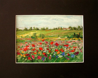 wild flowers field meadow poppies original painting, small landscape, Sessa