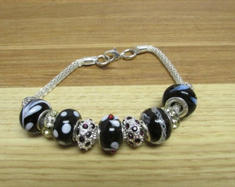 LITTLE BLACK BRACELET with Murano Lampwork & Crystal Beads
