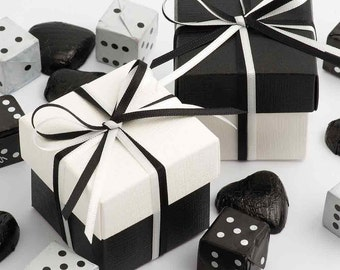 50x Black and White Wedding Favour Boxes | DIY | Two Tone Boxes | Satin Ribbon | Black Wedding Favours | Favour Box | Party Box