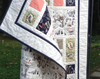FOXTAIL FOREST Patchwork Baby Quilt Navy Fern Coral Stone-- Made to Order