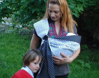 Baby ring sling/Baby Sling Ring/Sling polka dot/Baby Carrier/Reversible Baby ring Sling/Baby Wrap/Black,White Sling