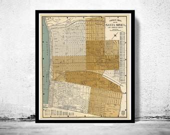 Old Map of Santa Monica LA California