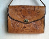 Vintage 1970s Cognac Brown Hand Tooled Leather Floral Top Handle Handbag Clutch Purse