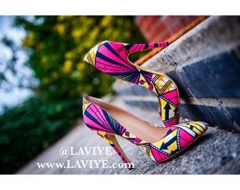 Kente shoes - orange & green African shoes, African print shoes, ankara shoes, african print heels, african ankara women's cute, kente