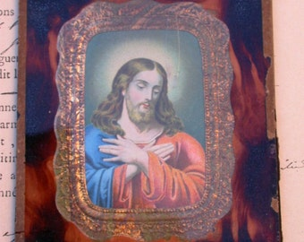 French antique  reliquary   glass Jesus sacred heart antique reliquary sacred heart