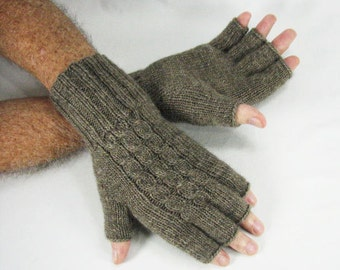 Men's Merino/Alpaca Wool, Long Half-fingered, Cabled Gloves, Camel/Taupe, Hand Knit, Luxuriously Soft, Warm, Lightweight, READY TO SHIP
