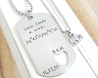 Long distance relationship Military Gift Hand stamped necklace stainless military tag hand stamped jewelry Boyfriend Gift Girlfriend gift