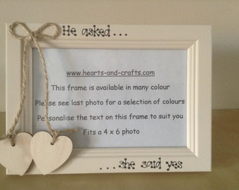 photo frame wedding personalised engagement gift wooden heart embellishment jute string rustic 6 x 4 inches
