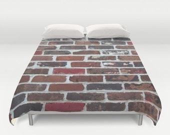 Brick Duvet, Brick Wall Bedding, Urban Duvet Cover, Brick Red Duvet, Urban Duvet, Brick Bedding, Man Cave, Industrial Duvet, Modern Duvet