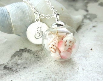Real Seashell Necklace, Starfish Pendant, Starfish Jewelry, Personalized Jewely, Silver Initial Charm, Birthday Gift, Beach Jewelry