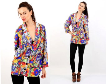 Vintage 80's Colorful Abstract  Dyed Oversized Women Blazer Size L / M Made In West Germany
