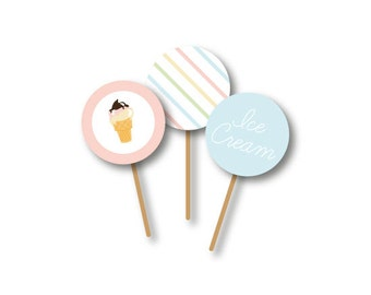 ICE CREAM PARTY - Cupcake Toppers