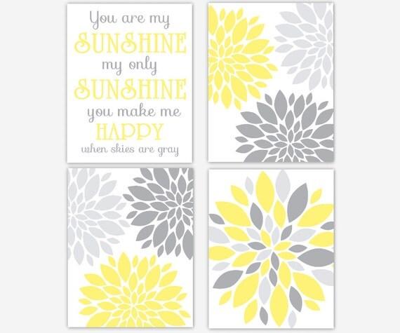 Grey Girl Wall Decor : Baby girl nursery wall art yellow gray grey you are my