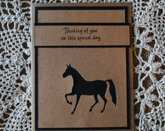 Handmade Greeting Card: Equine Card, Horse Birthday Card, Black Stallion, Black Horse