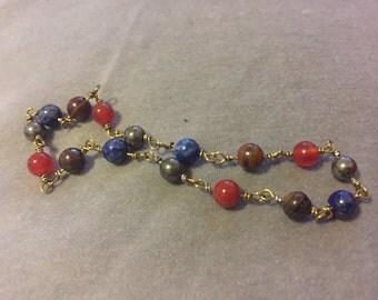 Heru-sa-Aset Bracelet Carnelian Lapis Pyrite Tiger Iron Wire-Wrapped
