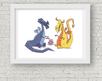 "Dragon Tea Party / 5""x7"" Dragon Nursery Decor/ Dragon Wall Art"