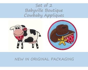 Babyville Boutique Cowbaby Appliques, Cowboy Applique, Embroidery Applique, Embroidered Cowboy Applique, Cowboy Hat Applique, Cow Embroidery