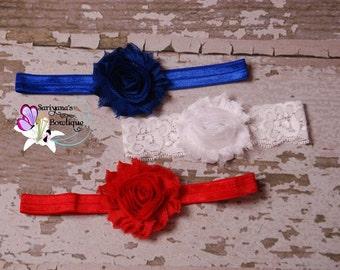 Baby Toddler Girl Woman Headband Set, Shabby Flower Headband, Royal Blue White Red, Lace Headband - SBst-009