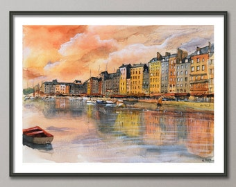 Boats Painting, Sunset Watercolor, Harbor poster, Port print , Giclee, Modern wall art