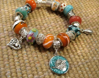 Miami Dolphins Licensed Charm on a European Style Bracelet