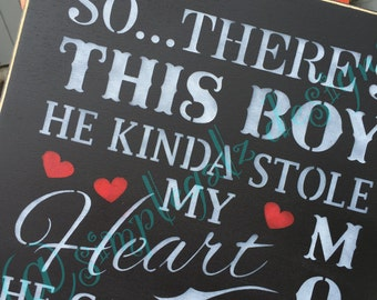 So..Theres this BOY~Hand Painted~Home Decor~Wood Sign~Boy~Mom~