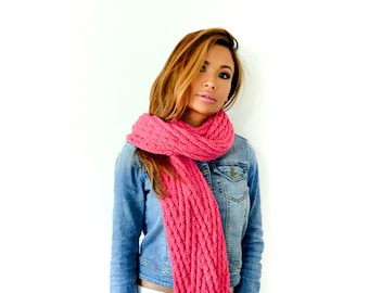 The Sophie Hand knit Reversible Pink Chevron Scarf