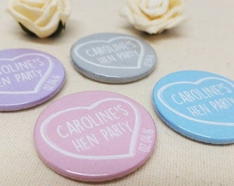 Personalised Quirky Heart Chalk Hen Party / Wedding / Team Bride Badge / wedding accessories - (or pocket Mirror)
