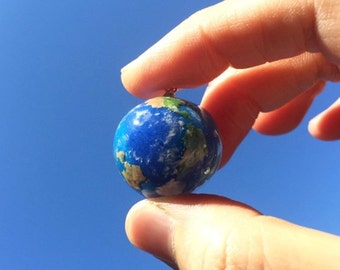 Earth Necklace Earth Charm Globe Necklace World Earth Blue Planet Jewelry Gift Earth Day Ball Charm Earth Pendant Blue Earth
