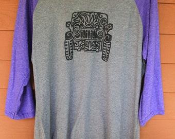 JEEP Tribal Tattoo LADIES Tri-Blend Raglan 3/4 Sleeve T-Shirt (xs-xl)