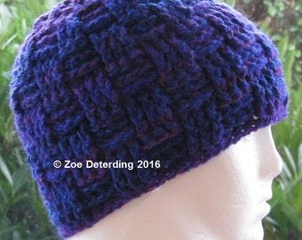 Instant Download Pattern - Basketweave Crochet Hat