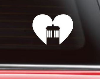 Dr Who Car Decal, Tardis Car Decal, Tardis Sticker, Whovian sticker, Doctor Who Car Decal, Tardis heart