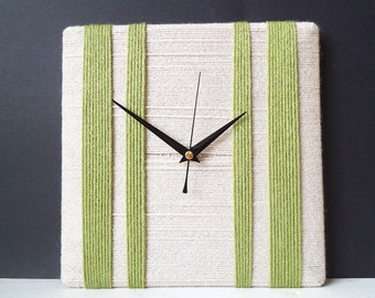 Unique Wall Clock Beige Cream and Lime Green Wool Yarn - Wall Art Square Clock