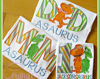 Personalized MOM or DAD Dinosaur Train Birthday T-Shirts with Buddy and Tiny