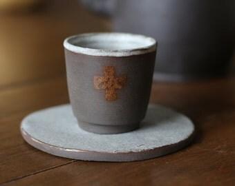 ceraGlass tea saucer and ceramic , handmade