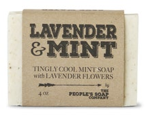 Lavender & Mint Soap - Minty Cool Refreshing All Natural Vegan Soap - Best Handmade Soap - Chemical-Free for Sensitive Skin - Peoples Soap