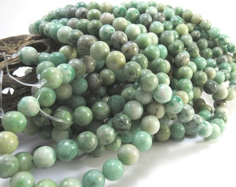 "Ching Hai ""Jade"" Beads, Natural 8mm Green Beads, 16 inch Strand, Beading Supplies, Item 1017pm"
