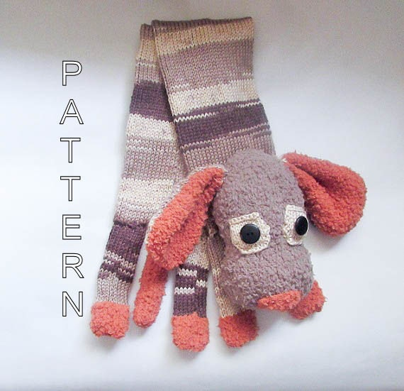 Knitting Pattern Dog Animal Scarf Dog Scarf Novelty Scarf ...