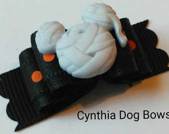 "Halloween Dog Bow 5/8- Mickey Mouse ""Mummy"""