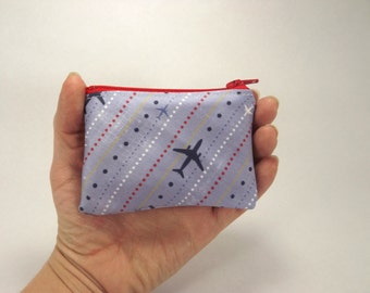 Air plane zipper pouch, pilot bag, cash wallet, flight coin purse,  airplane wallet, accessory, blue red