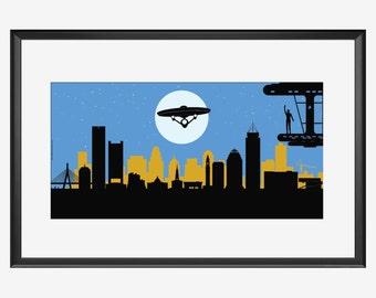 Boston Skyline print, Good Bye Mr. Spock, for Star Trek actor Leonard Nimoy tribute, Boston 1931 - Los Angeles 2015, Mr. Spock print, poster