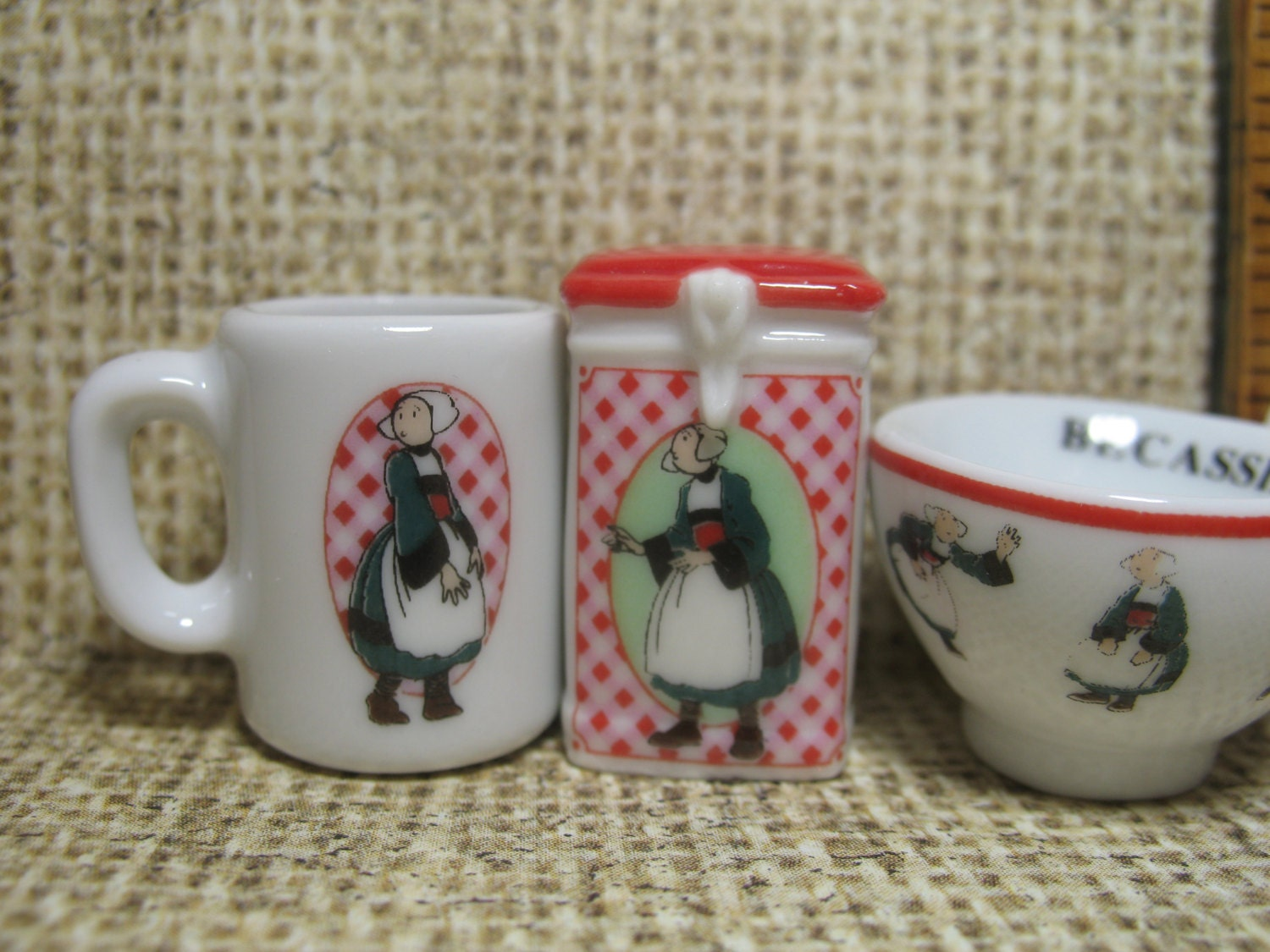 Tiny becassine dishes mug bowl canister egg cup breton Depot outlet bochum