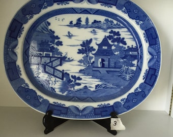 Canton Chinese Blue and White Platter