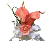 Wrist Corsage - Coral Calla Lily with Greenery *Pick Ribbon Color*