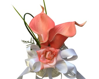 Wrist Corsage - Coral Calla Lily with Greenery *Pick Ribbon Color*