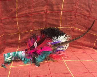 Feather/Crystal smudge stick