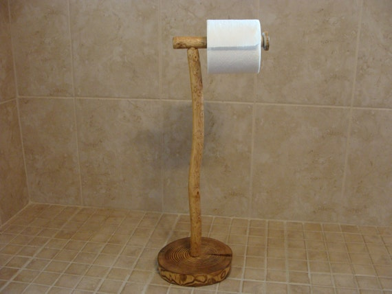 Rustic wood pedestal toilet paper holder free standing Wood toilet paper holders