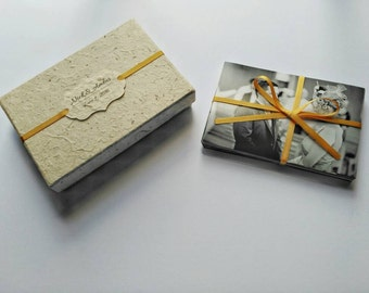 Wedding Photo Box, Personalised 6 x 4 Photo Box, Piece Of Paper, Hemp Lokta, Gold Ribbon.